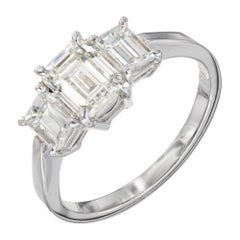 Peter Suchy GIA 1.83 Carat Diamond Platinum Three-Stone Engagement Ring