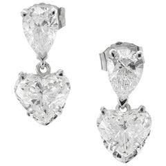 Peter Suchy GIA 1.89 Carat Heart Shaped Diamond Platinum Dangle Earrings