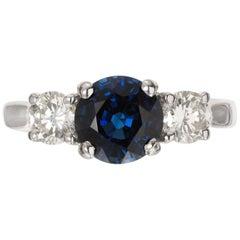 Peter Suchy GIA 1.91 Carat Blue Sapphire Diamond Platinum Engagement Ring