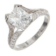 Peter Suchy GIA 2.02 Carat Diamond Platinum Split Shank Engagement Ring