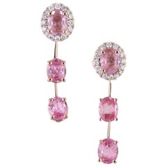 Peter Suchy GIA 2.70 Carat Pink Sapphire Diamond Halo Rose Gold Dangle Earrings