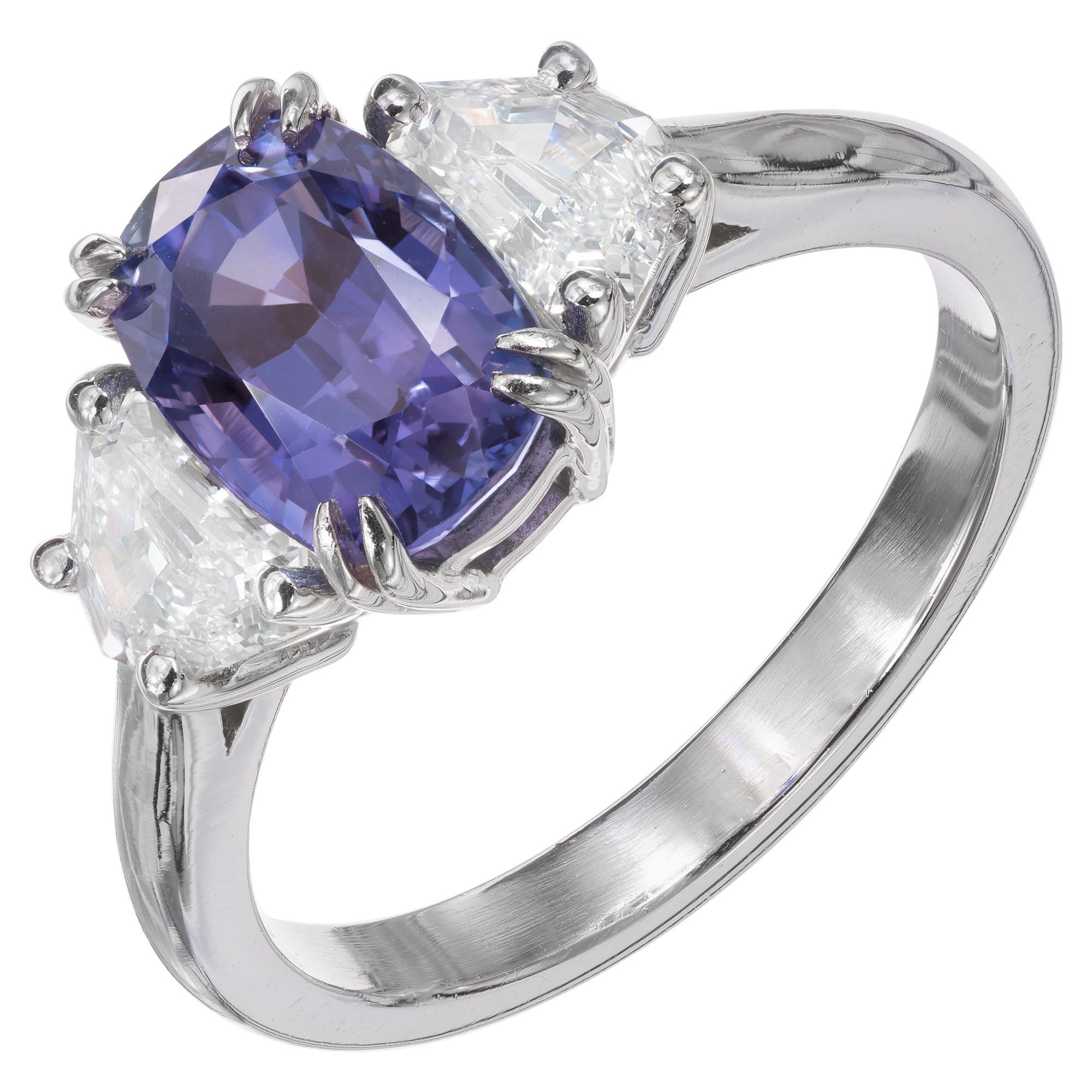 Peter Suchy GIA 3.07 Carat Sapphire Diamond Platinum Three-Stone Engagement Ring