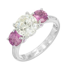 Peter Suchy GIA 3.52 Carat Diamond Pink Sapphire Platinum Engagement Ring
