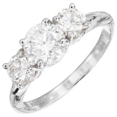 Peter Suchy GIA .85 Carat Diamond Platinum Three-Stone Engagement Ring