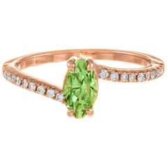 Peter Suchy GIA .96 Carat Tsavorite Garnet Diamond Rose Engagement Gold Ring