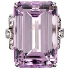 Peter Suchy GIA AGL 47.45 Carat Pink Kunzite Diamond Gold Cocktail Ring