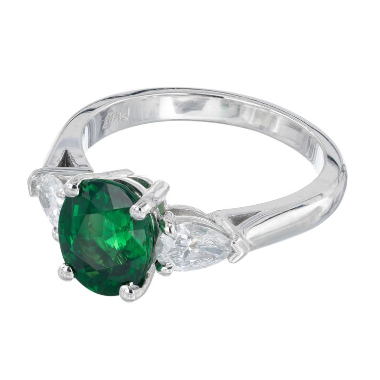Oval Cut Peter Suchy GIA Certified 2.82 Carat Tsavorite Diamond Platinum Engagement Ring For Sale