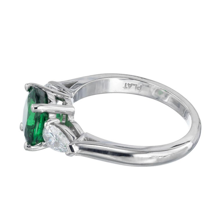 Peter Suchy GIA Certified 2.82 Carat Tsavorite Diamond Platinum Engagement Ring In New Condition For Sale In Stamford, CT