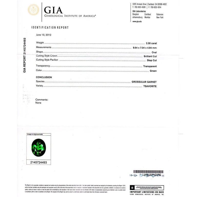 Peter Suchy GIA Certified 2.82 Carat Tsavorite Diamond Platinum Engagement Ring For Sale 2