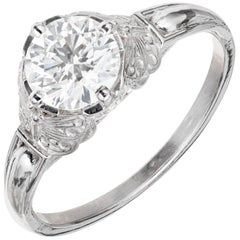 Peter Suchy GIA Certified 1.00 Carat Diamond Platinum Engagement Ring