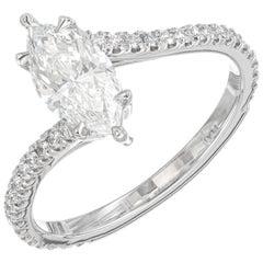 Peter Suchy GIA Certified 1.01 Carat Diamond Platinum Bi-Pass Engagement Ring