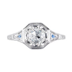 Peter Suchy GIA Certified 1.01 Carat Diamond Sapphire Platinum Engagement Ring
