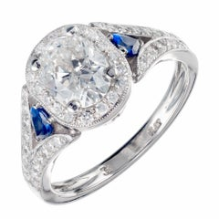 Peter Suchy GIA Certified 1.05 Carat Diamond Sapphire Platinum Engagement Ring