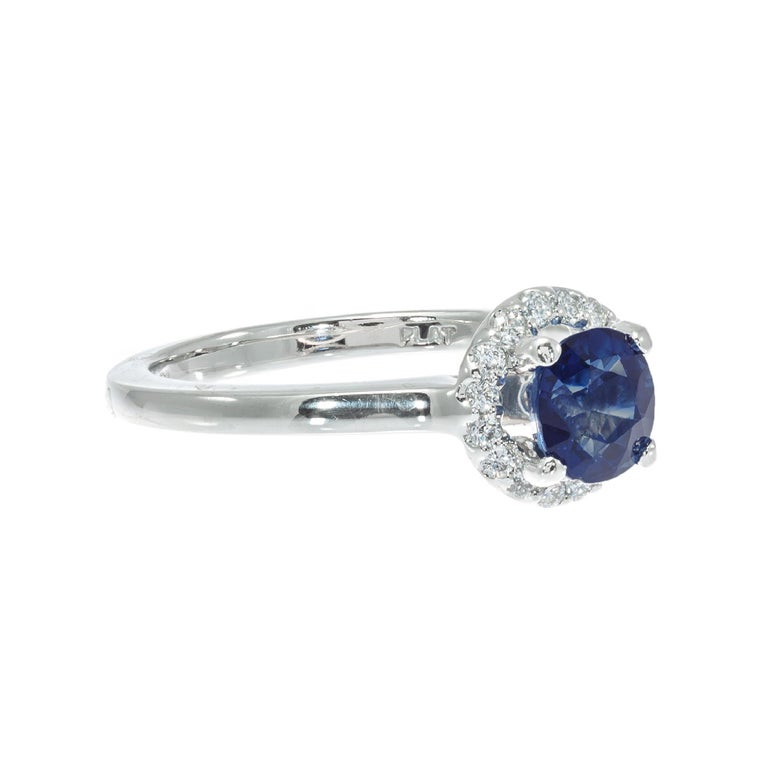 Cushion Cut Peter Suchy GIA Certified 1.05 Carat Sapphire Diamond Platinum Engagement Ring For Sale