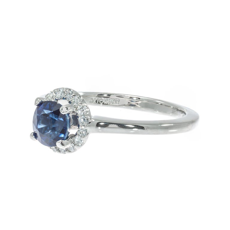 Peter Suchy GIA Certified 1.05 Carat Sapphire Diamond Platinum Engagement Ring In New Condition For Sale In Stamford, CT