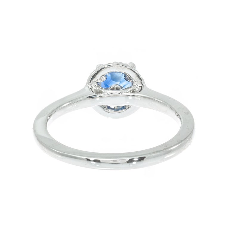 Women's Peter Suchy GIA Certified 1.05 Carat Sapphire Diamond Platinum Engagement Ring For Sale