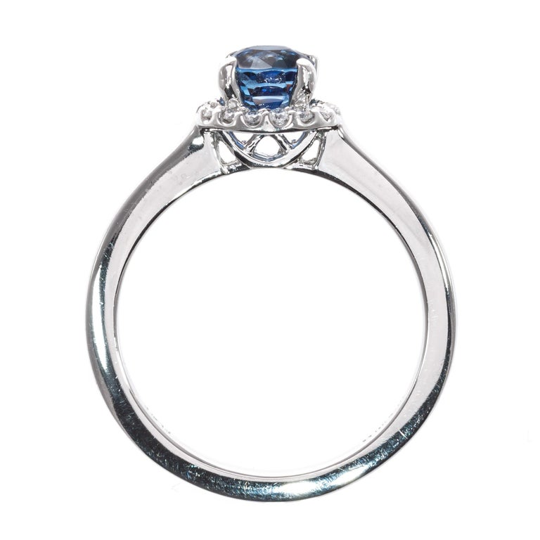 Peter Suchy GIA Certified 1.05 Carat Sapphire Diamond Platinum Engagement Ring For Sale 3
