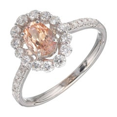 Peter Suchy GIA Certified 1.06 Padparadscha Sapphire Diamond Gold Engagement