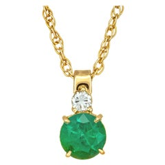 Peter Suchy GIA Certified 1.08 Carat Emerald Diamond Gold Pendant Necklace