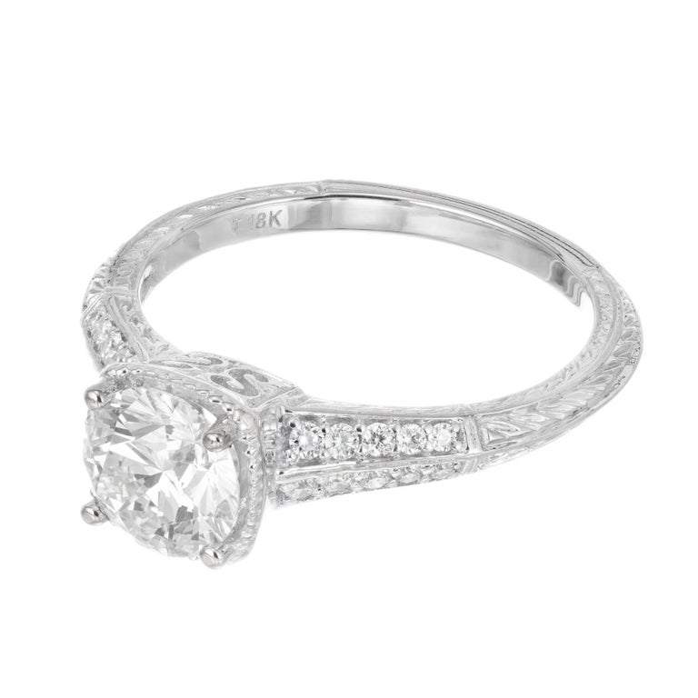 Peter Suchy GIA Certified 1.10 Cara Diamond Solitaire Gold Engagement Ring In Excellent Condition For Sale In Stamford, CT