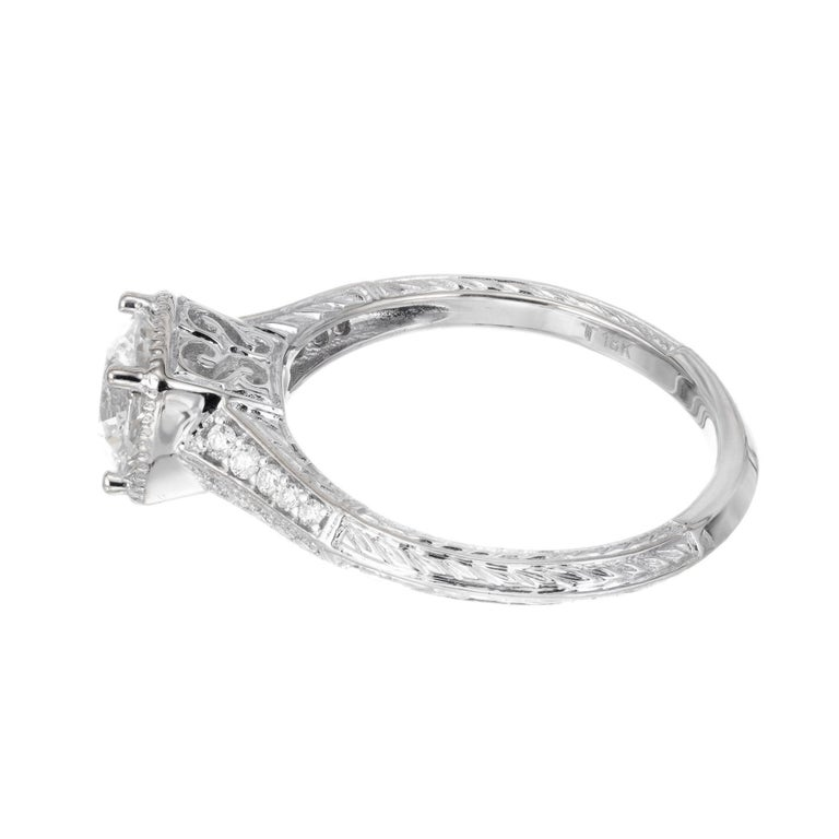 Women's Peter Suchy GIA Certified 1.10 Cara Diamond Solitaire Gold Engagement Ring For Sale