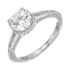 Peter Suchy GIA Certified 1.10 Cara Diamond Solitaire Gold Engagement Ring