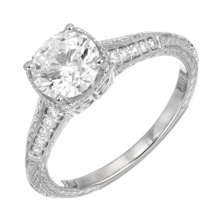Peter Suchy GIA Certified 1.10 Cara Diamond Solitaire Gold Engagement Ring For Sale