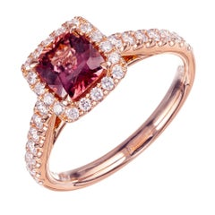 Peter Suchy GIA Certified 1.10 Carat Sapphire Diamond Rose Gold Engagement Ring