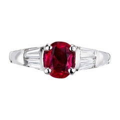 Peter Suchy GIA Certified 1.10 Ruby Diamond Platinum Engagement Ring