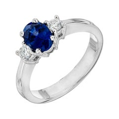 Peter Suchy GIA Certified 1.11 Carat Sapphire Diamond Gold Engagement Ring