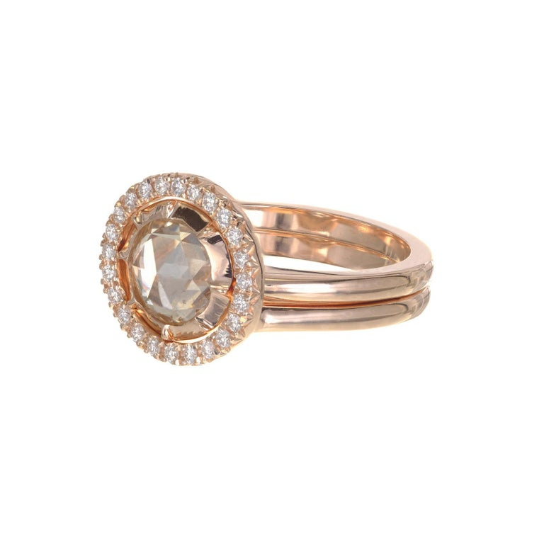 Rose Cut Peter Suchy GIA Certified 1.14 Carat Diamond Halo Rose Gold Engagement Ring For Sale