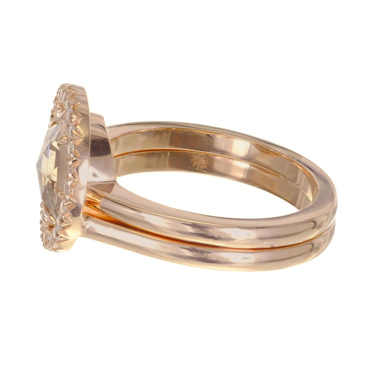 Peter Suchy GIA Certified 1.14 Carat Diamond Halo Rose Gold Engagement Ring In New Condition For Sale In Stamford, CT