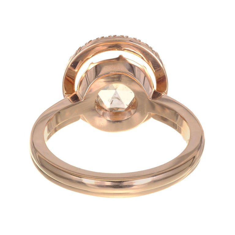 Women's Peter Suchy GIA Certified 1.14 Carat Diamond Halo Rose Gold Engagement Ring For Sale