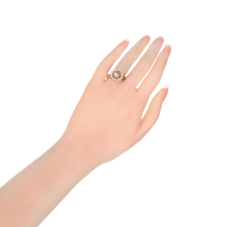 Peter Suchy GIA Certified 1.14 Carat Diamond Halo Rose Gold Engagement Ring For Sale 3