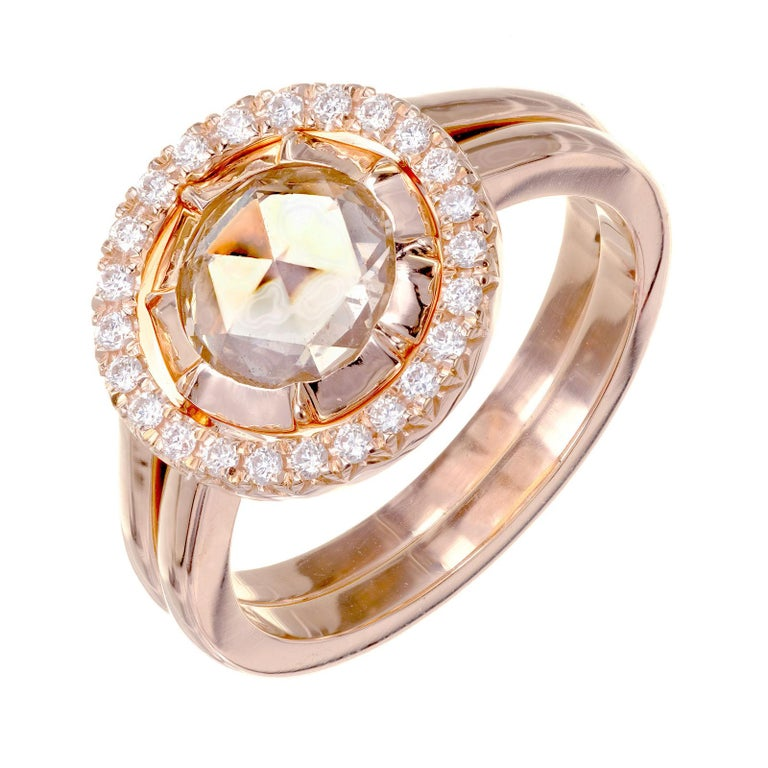Peter Suchy GIA Certified 1.14 Carat Diamond Halo Rose Gold Engagement Ring For Sale