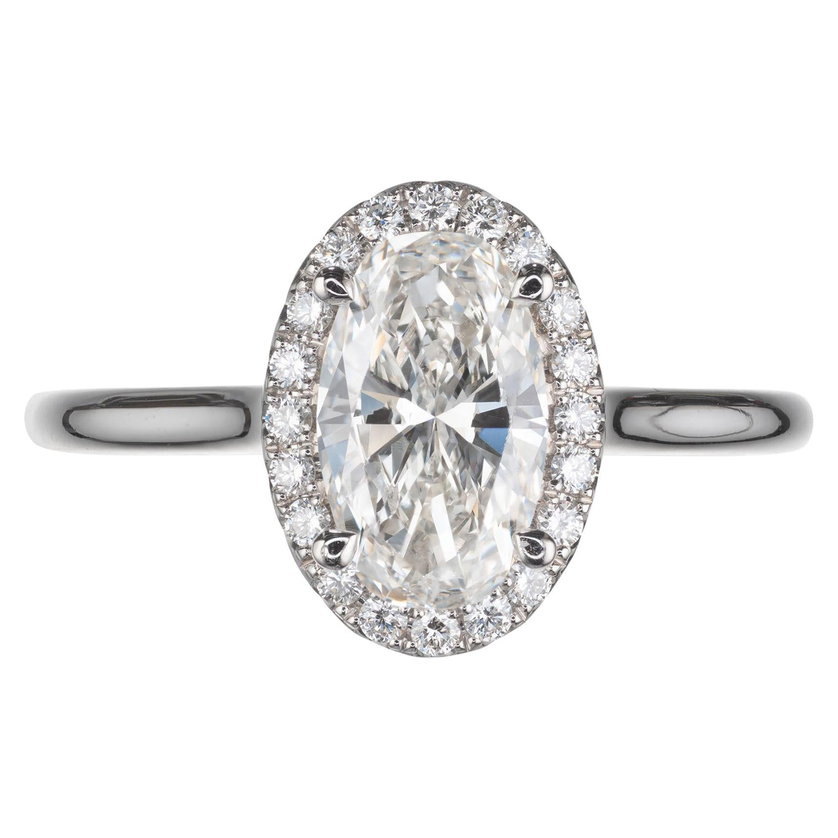 Peter Suchy GIA Certified 1.17 Carat Oval Diamond Halo Platinum Engagement Ring