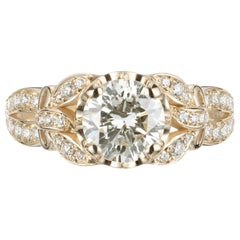 Peter Suchy GIA Certified 1.21 Carat Diamond Yellow Gold Engagement Ring