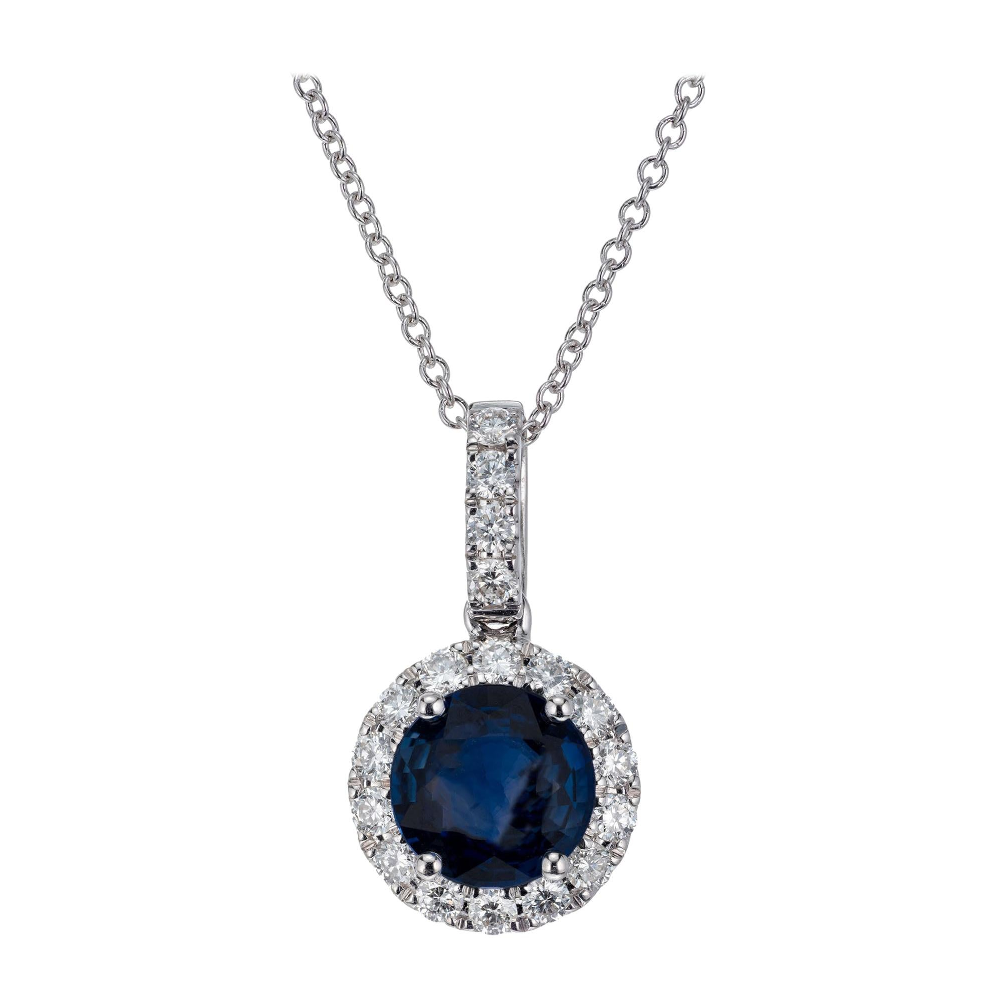Peter Suchy GIA Certified 1.30 Carat Sapphire Diamond Gold Pendant Necklace