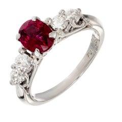 Peter Suchy GIA Certified 1.35 Carat Ruby Diamond Platinum Engagement Ring