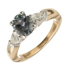Peter Suchy GIA Certified 1.37 Carat Sapphire Diamond Gold Engagement Ring