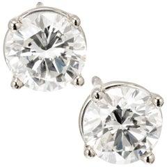 Peter Suchy GIA Certified 1.41 Carat Diamond Platinum Stud Earrings
