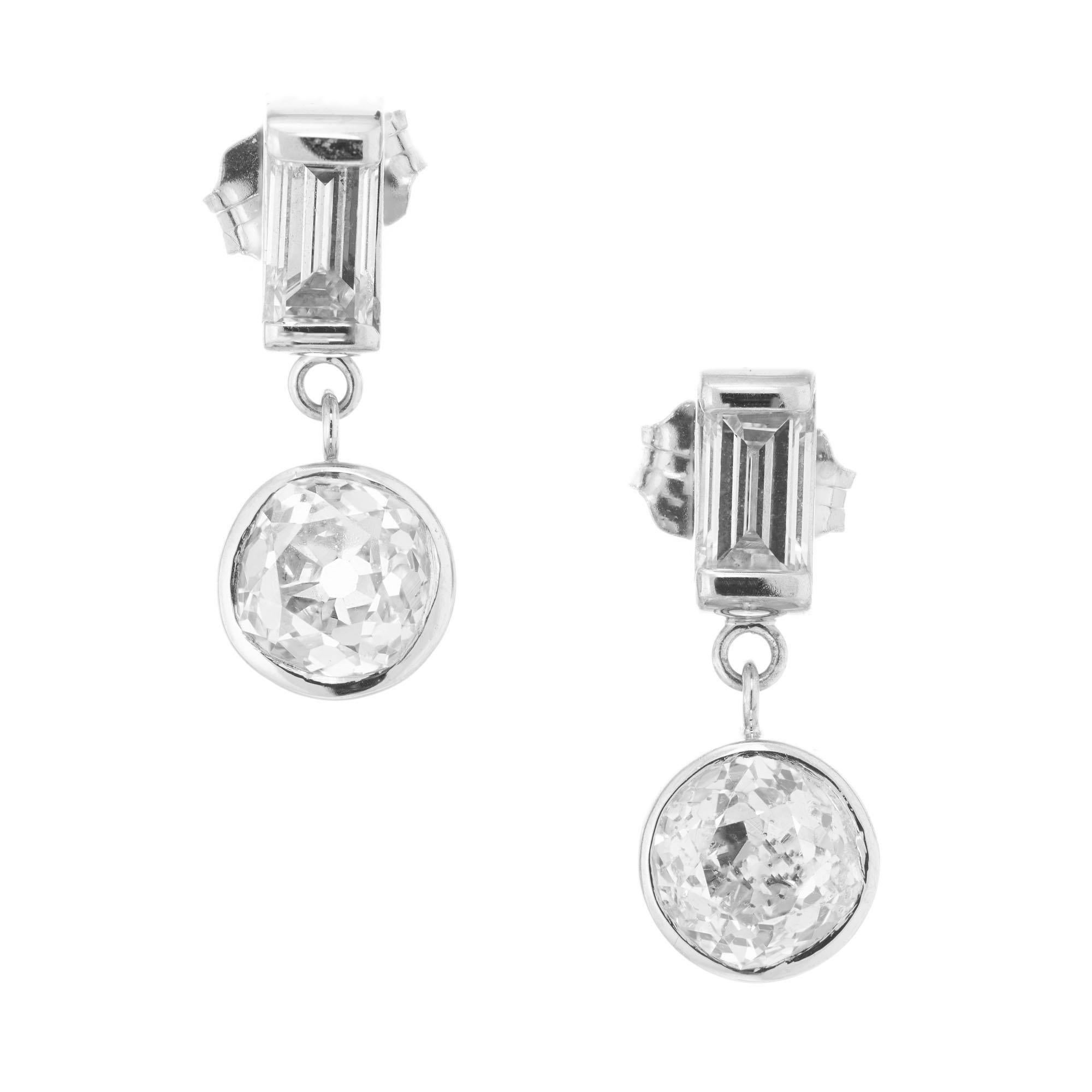 Peter Suchy GIA Certified 1.42 Carat Diamond Platinum Dangle Earrings