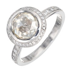 Peter Suchy GIA Certified 1.46 Carat Diamond Platinum Halo Engagement Ring