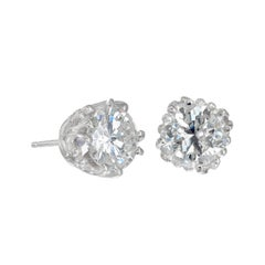Peter Suchy GIA Certified 1.46 Carat Diamond Platinum Stud Earrings