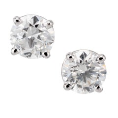 Peter Suchy GIA Certified 1.50 Carat Diamond Platinum Stud Earrings