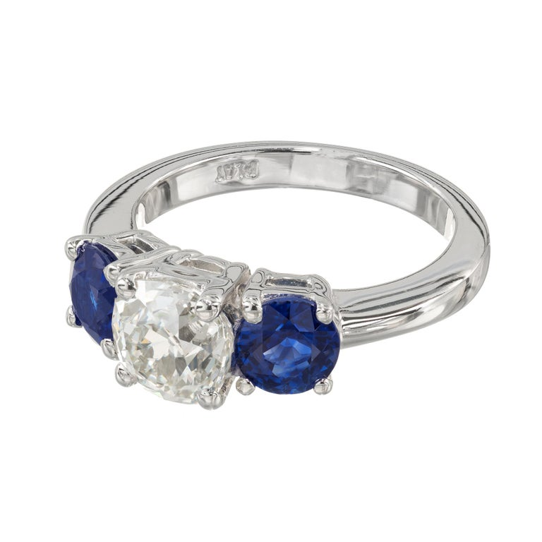Old Mine Cut Peter Suchy GIA Certified 1.50 Carat Diamond Sapphire Platinum Ring For Sale