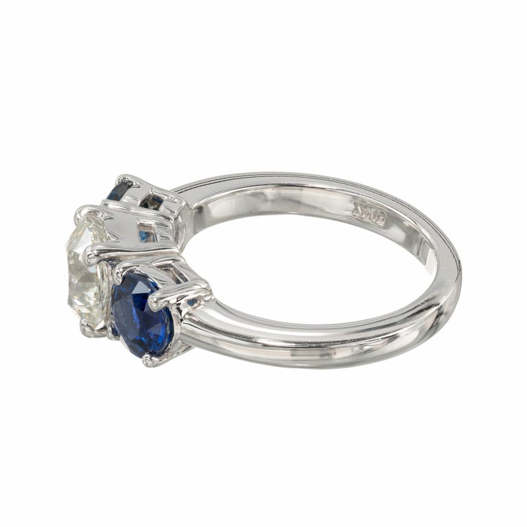 Peter Suchy GIA Certified 1.50 Carat Diamond Sapphire Platinum Ring In New Condition For Sale In Stamford, CT