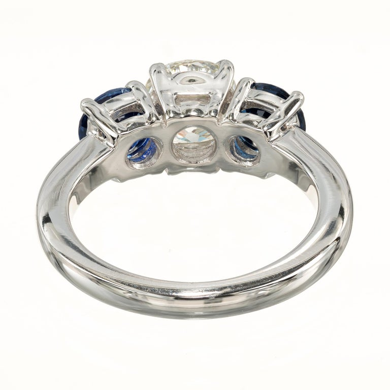 Women's Peter Suchy GIA Certified 1.50 Carat Diamond Sapphire Platinum Ring For Sale