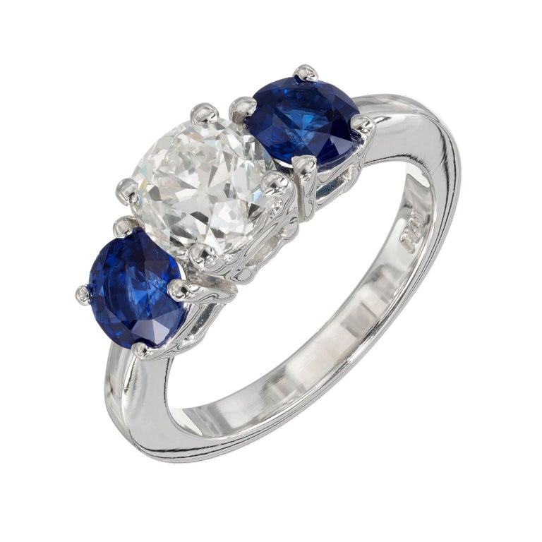Peter Suchy GIA Certified 1.50 Carat Diamond Sapphire Platinum Ring For Sale