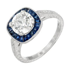 Peter Suchy GIA Certified 1.50 Carat Diamond Sapphire Platinum Ring